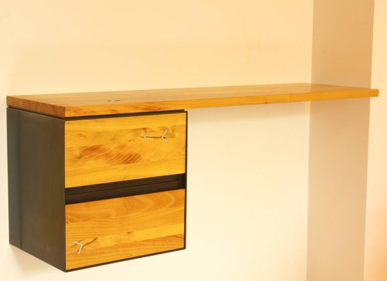 Modern Oxide Wall Mounted Console Or Desk In Blackened Steel With Wood Drawers For