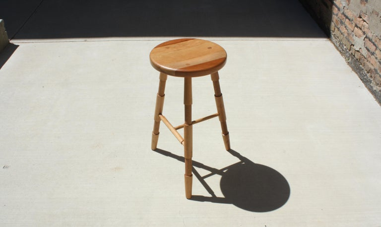 American Saddle, Modern Wood Counter Stool or Bar Stool For Sale