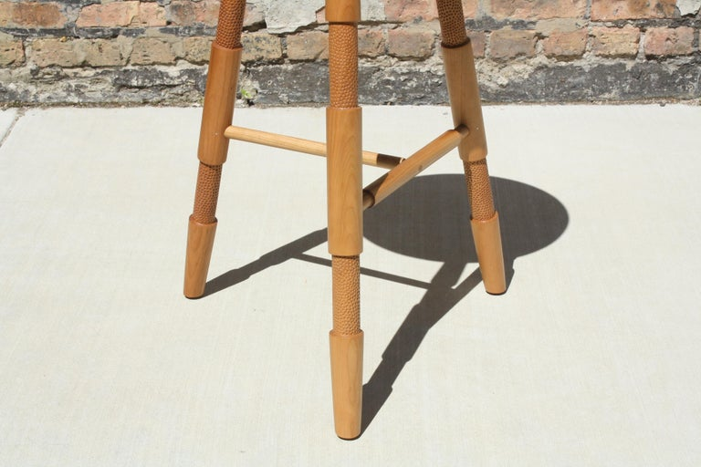 Bleached Saddle, Modern Wood Counter Stool or Bar Stool For Sale