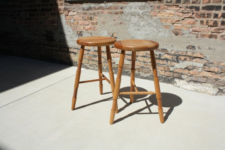Contemporary Saddle, Modern Wood Counter Stool or Bar Stool For Sale