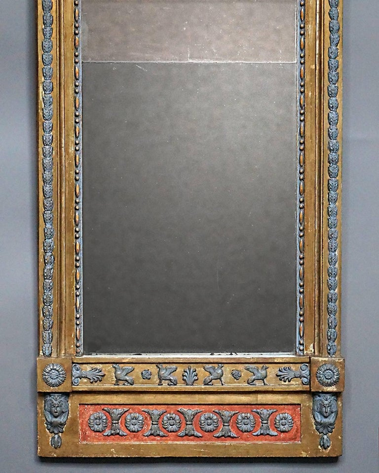 Hand-Carved Swedish Neoclassical Pier Mirror For Sale