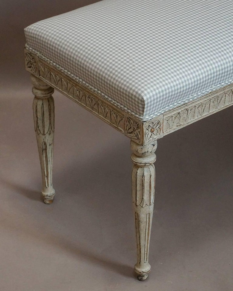 Hand-Carved Later Swedish Bench in the Gustavian Style For Sale