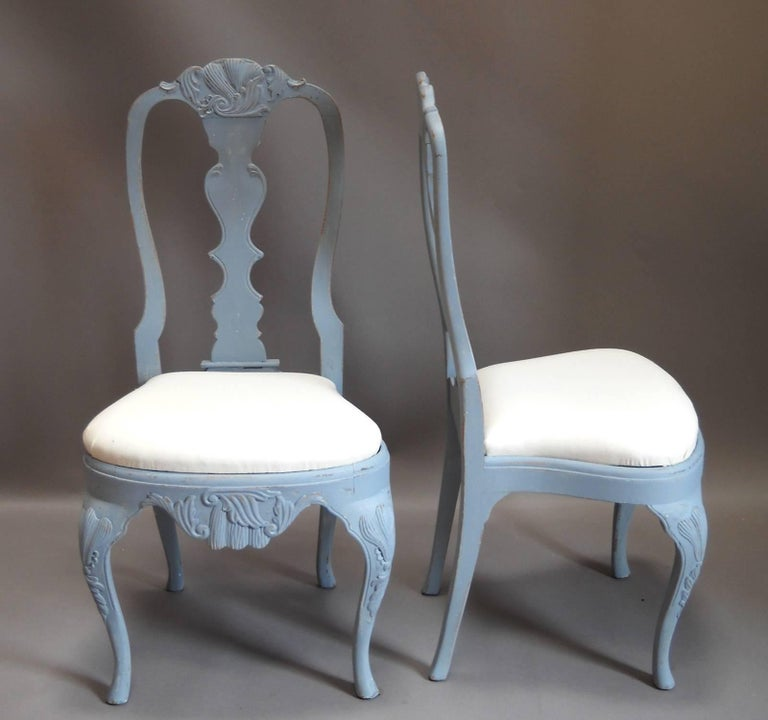 Swedish Set of Eight Rococo Style Dining Chairs For Sale