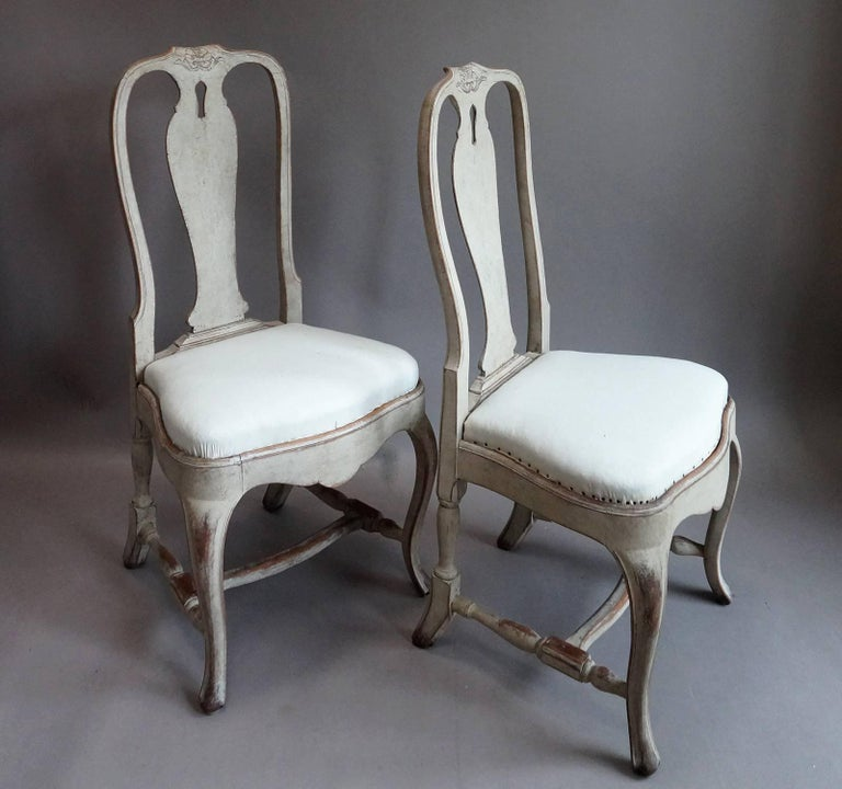 Set of four rococo style dining chairs at 1stdibs for Swedish style dining chairs