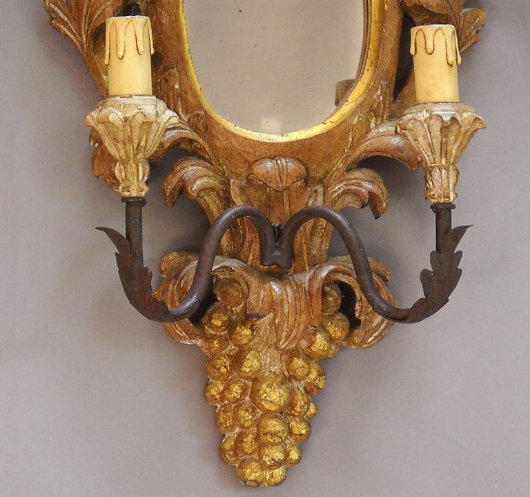 Rococo Mirrored Two-Light Sconce For Sale