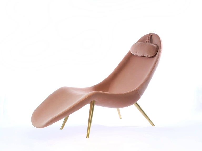 American Contemporary 'Pause' Chaise Lounge with Brass Legs by Konekt For Sale