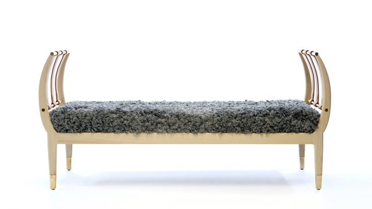 Rib Bench in Bleached Ash, Brass and Gotland Sheepskin or COM For Sale 1