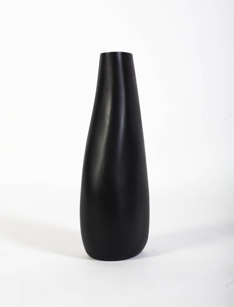 Contemporary Hand Sculpted Blackened Steel Stone Vase By Konekt
