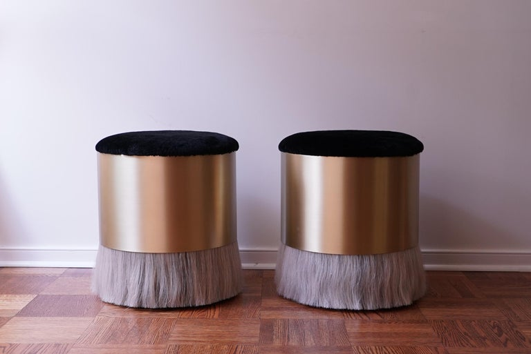 American Thing 4 Stool Ottoman with Antique Brass and Horse Hair For Sale