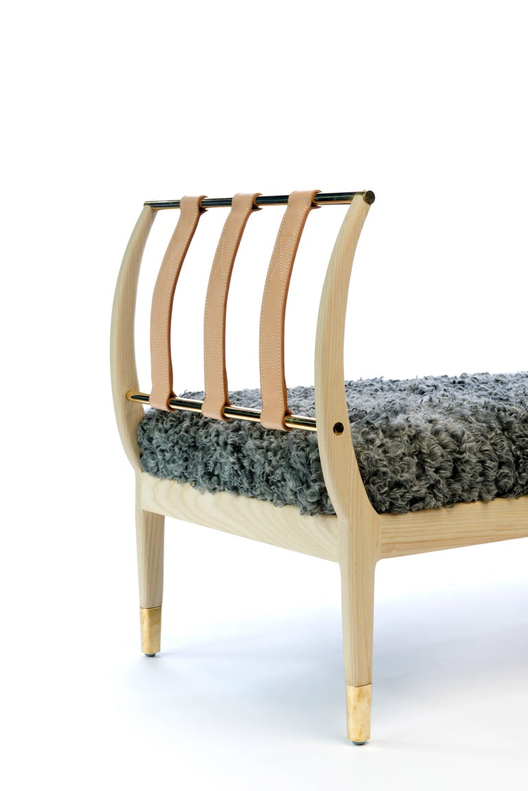 Rib Bench in Bleached Ash, Brass and Gotland Sheepskin or COM For Sale 2