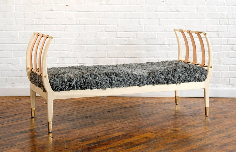 American Rib Bench with Wood, Leather, Polished Brass and COM For Sale
