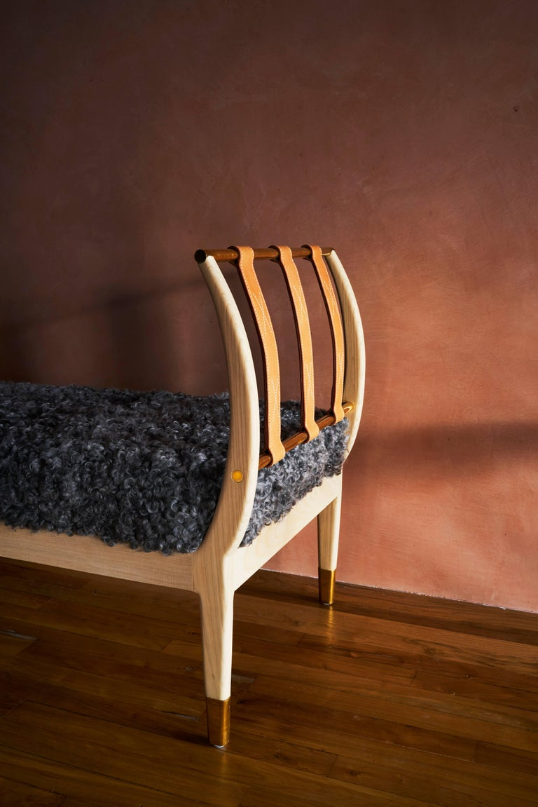 Contemporary Rib Bench with Wood, Leather, Polished Brass and COM For Sale