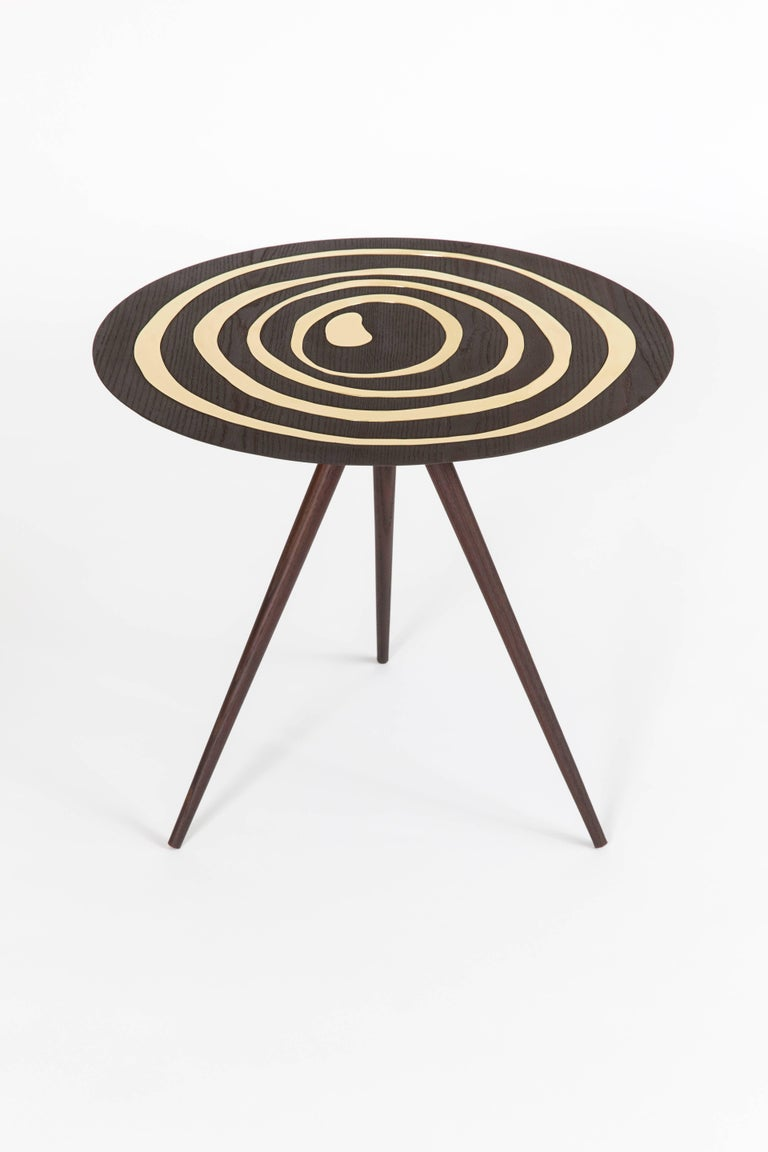 Contemporary 'A. Cepa' Side Table in Ebonized Ash with Brass For Sale 1