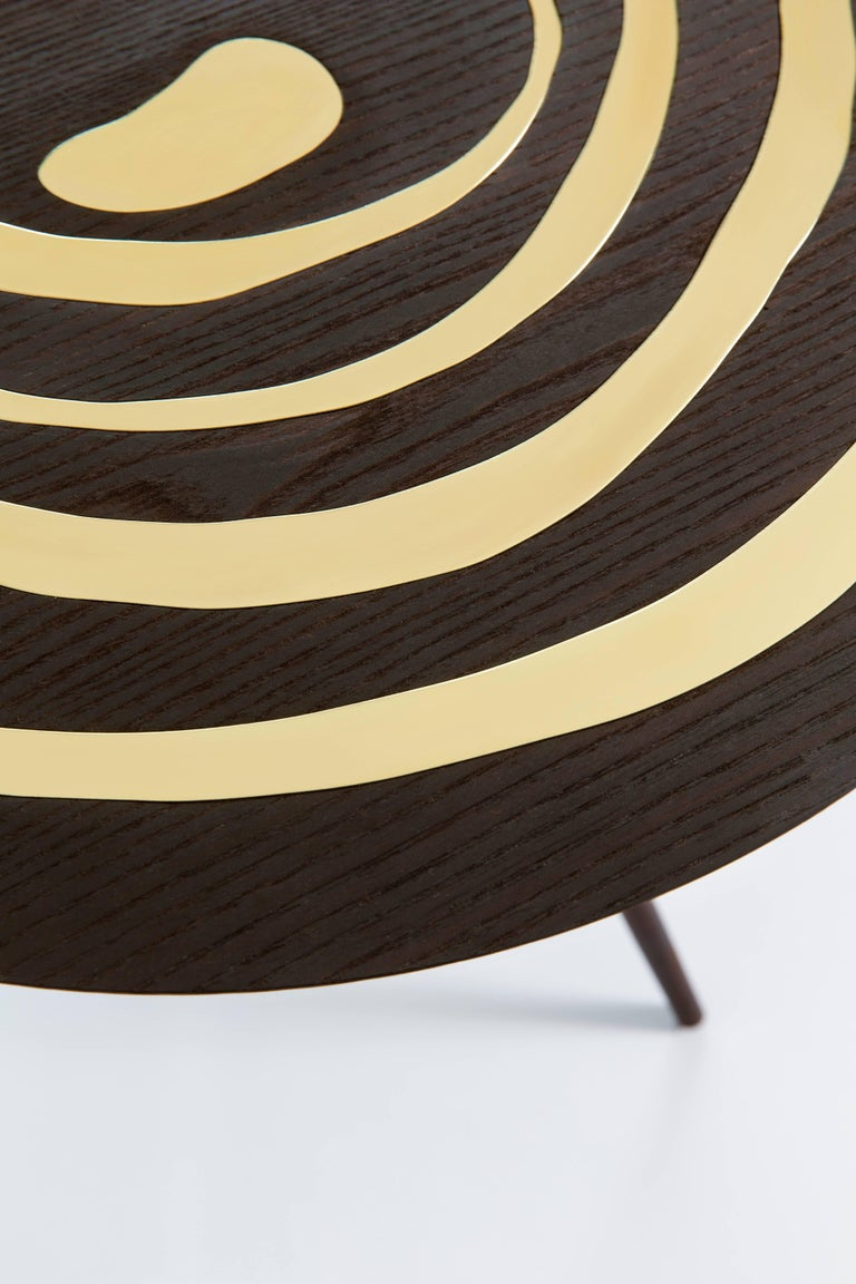 Contemporary 'A. Cepa' Side Table in Ebonized Ash with Brass In New Condition For Sale In New York, NY