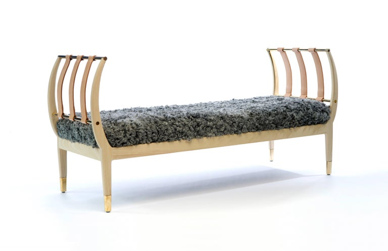 Leather Contemporary 'Rib' Bench in American Walnut by Konekt For Sale