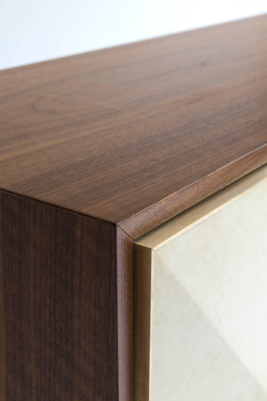 Contemporary \u0027Pyramid\u0027 Sideboard with Walnut, Parchment and Brass ...