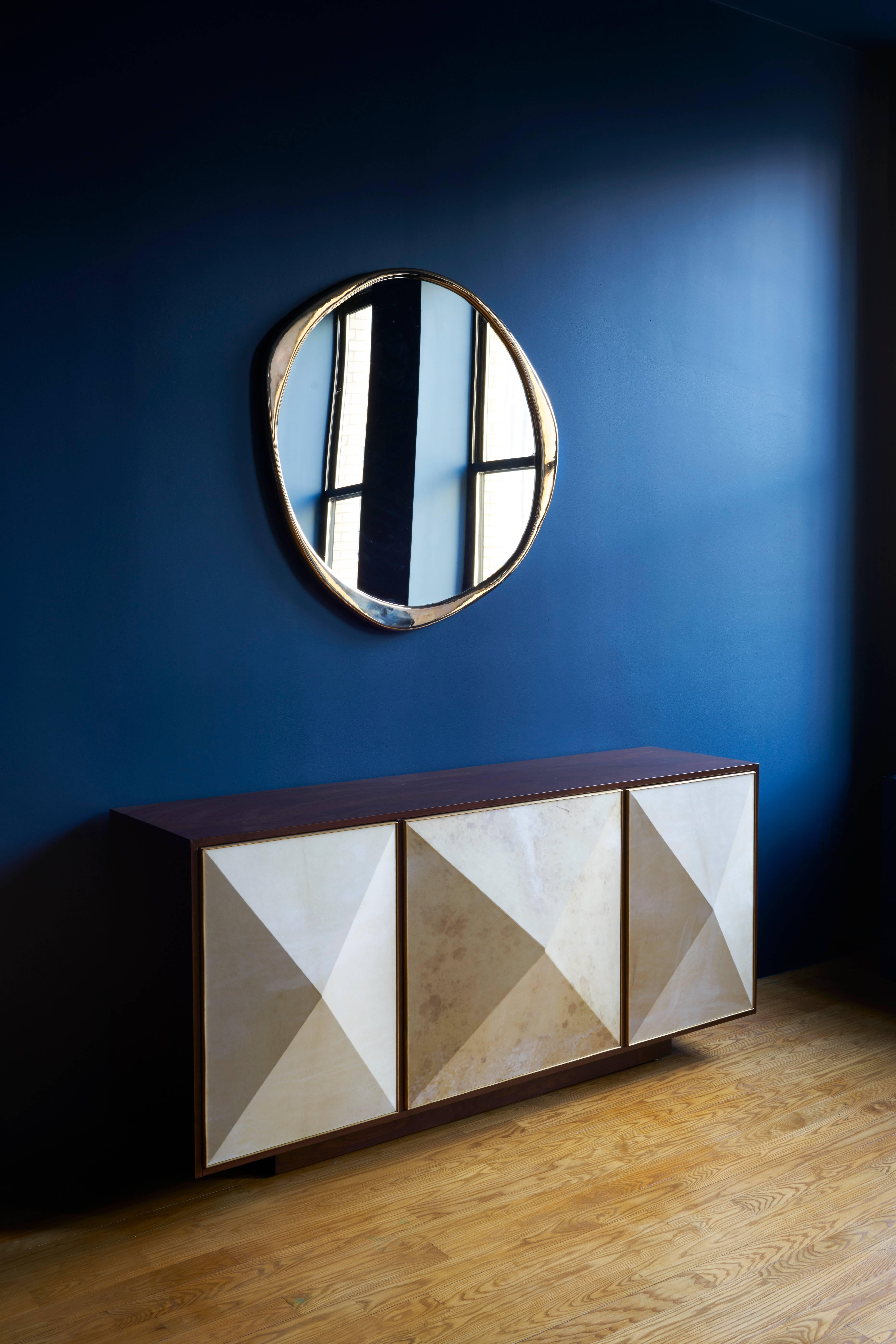 Contemporary U0027Pyramidu0027 Sideboard With Walnut, Parchment And Brass By Konekt  For Sale At 1stdibs