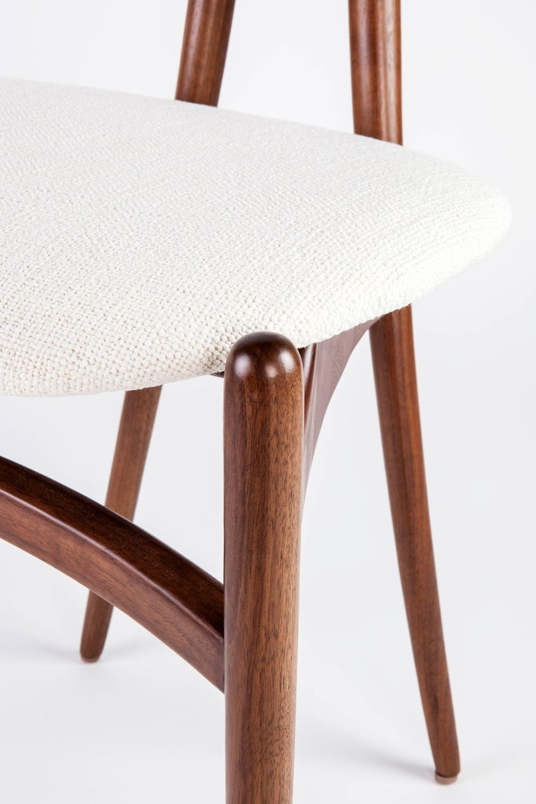 Contemporary Bianca Side Chair In Walnut With Back Pan