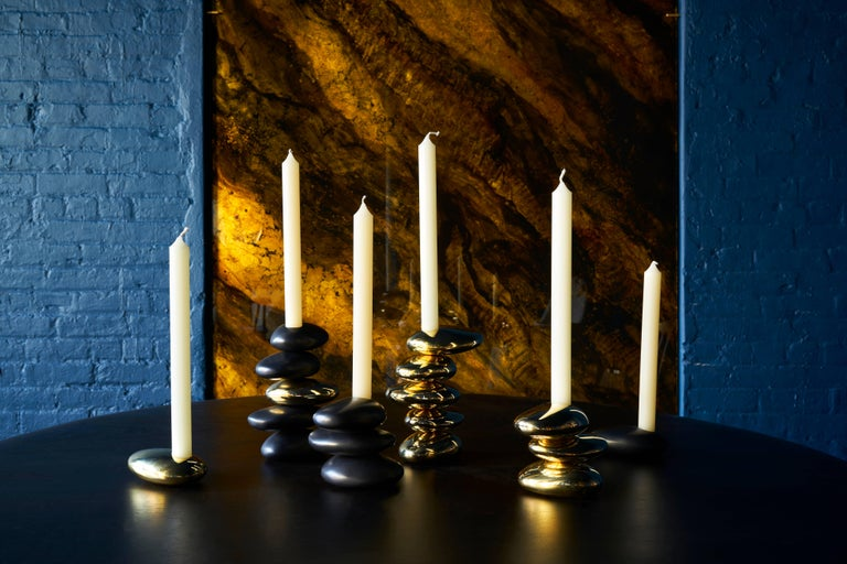 Contemporary Blackened Brass Single 'Stone' Candleholder by Konekt In New Condition For Sale In New York, NY