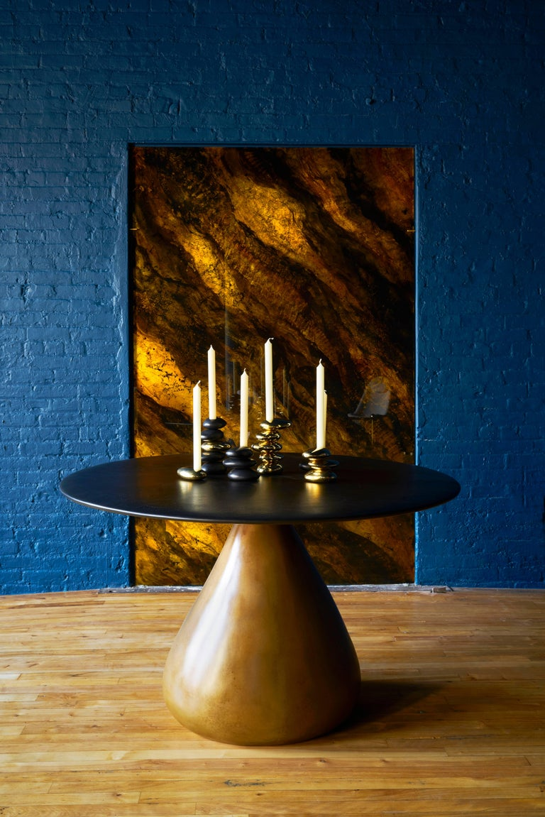 Contemporary Blackened and Polished Brass 5 Stack 'Stone' Candleholder by Konekt For Sale 2