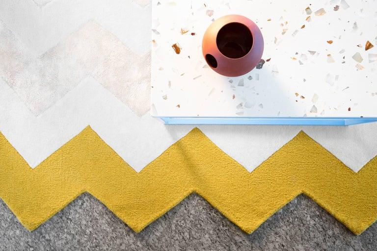 Indian  Zuko Chevron Print Rug by Pieces, Modern Grey Hand Tufted Zig Zag Rug Carpet  For Sale