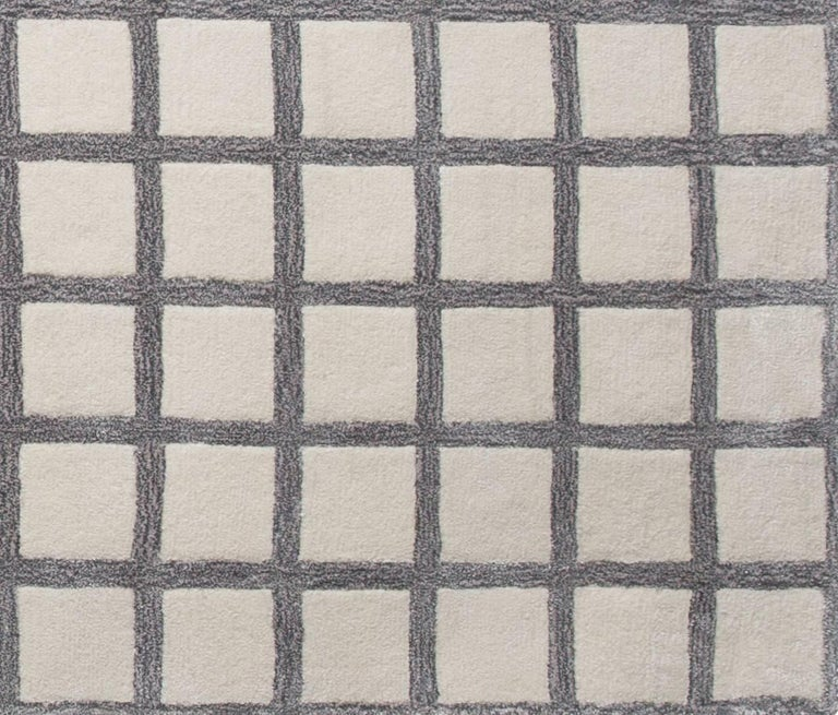 Pieces maschi geometric grid print grey neutral hand for Geometric print area rugs