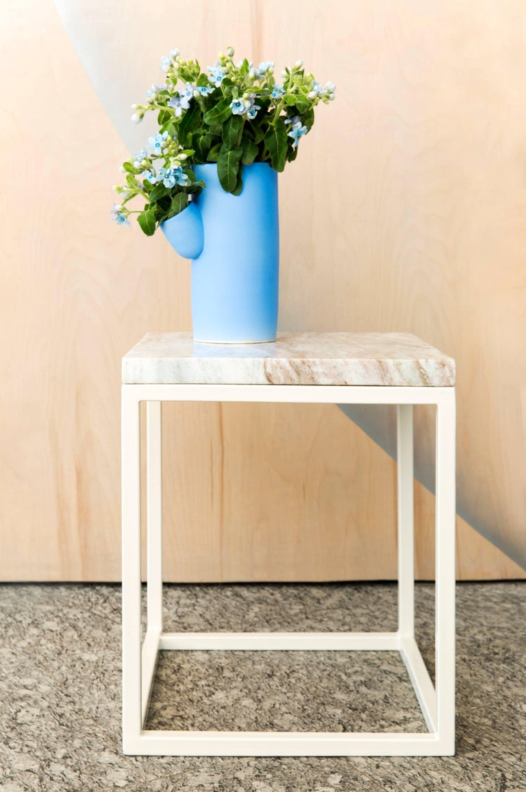 Frame Side Table by Pieces, Modern Customizable End Table in Stone Glass Wood In New Condition For Sale In Brooklyn, NY