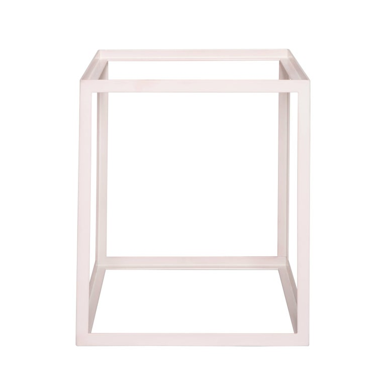 American Fitted Side Table by Pieces, Modern Customizable End Table in Stone Glass Wood For Sale
