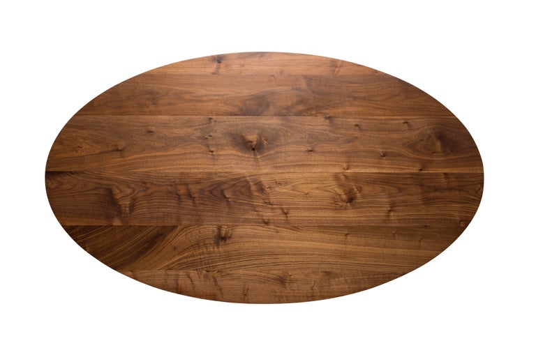 Contemporary  Flux Oval Dining Table by Pieces, Modern Customizable in Stone Wood Glass For Sale