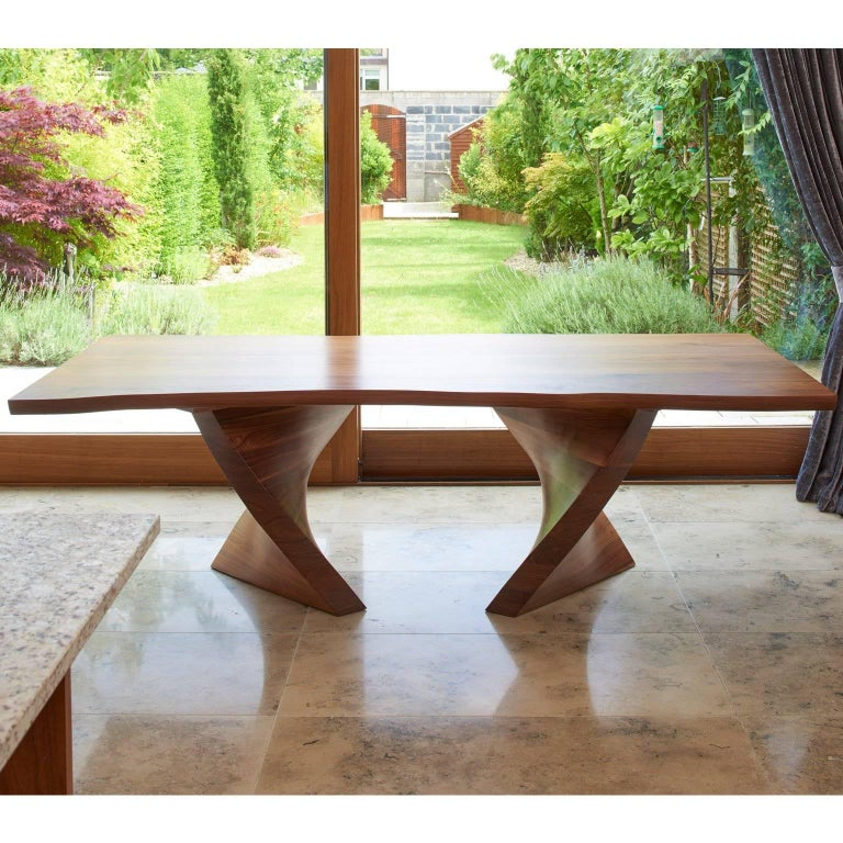 Organic Modern Helical Dining Table in Walnut For Sale
