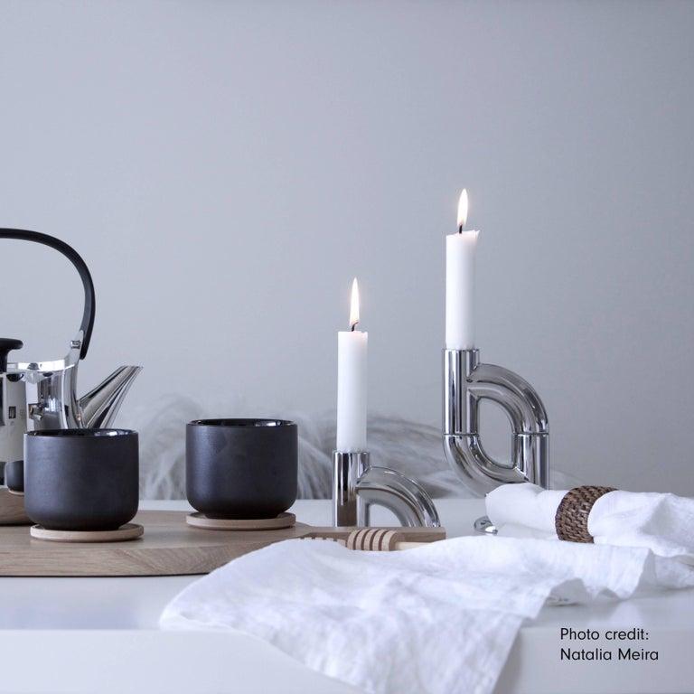 Scandinavian Modern Alia 2-Pack, 21st Century Minimal Chrome Plating Stackable Candleholder For Sale