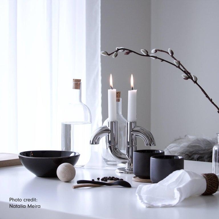 Swedish Alia 2-Pack, 21st Century Minimal Chrome Plating Stackable Candleholder For Sale