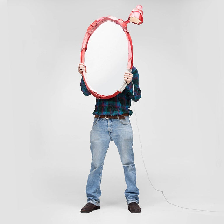 Hand-Crafted Standing Skin Mirror by Pepe Heykoop For Sale