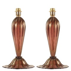 Pair of Original Murano Glass Table Lamp Amethyst Color with Gold Leaf