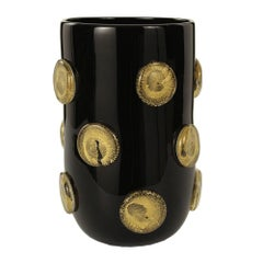 21st Century Murano Blown Glass Vase, Black with Gold Buttons