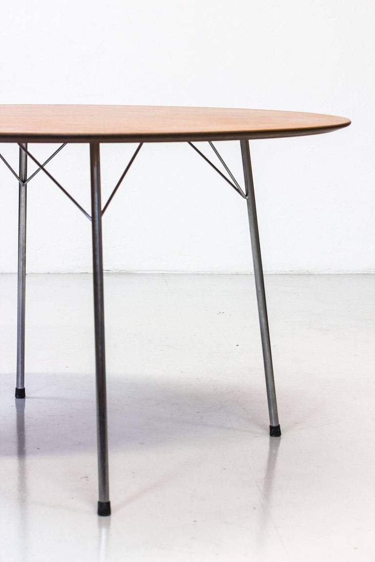 Steel Scandinavian Modern Teak Dining Table by Arne Jacobsen for Fritz Hansen, 1963 For Sale