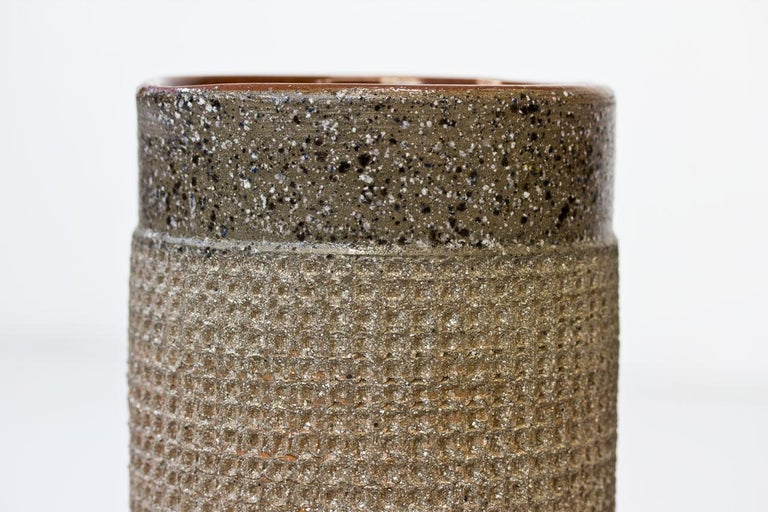 Mid-20th Century Ceramic Cylindrical Floor Vase by Thomas Hellström for Nittssjö, Sweden, 1960s For Sale