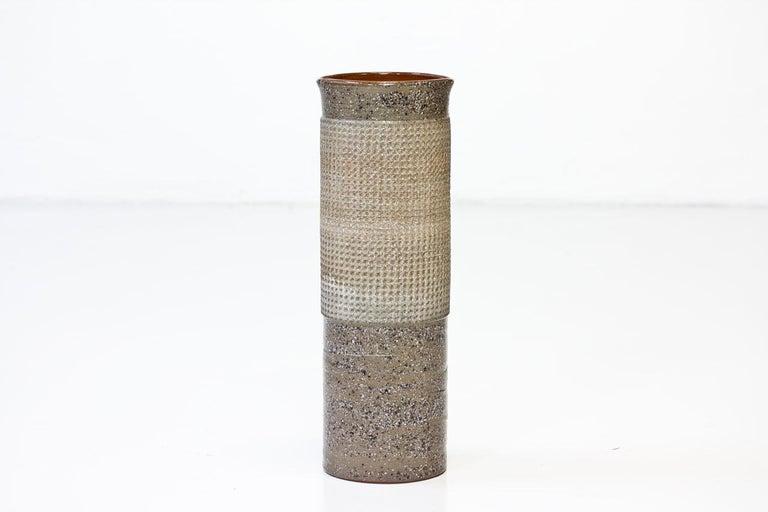 Scandinavian Modern Ceramic Cylindrical Floor Vase by Thomas Hellström for Nittssjö, Sweden, 1960s For Sale