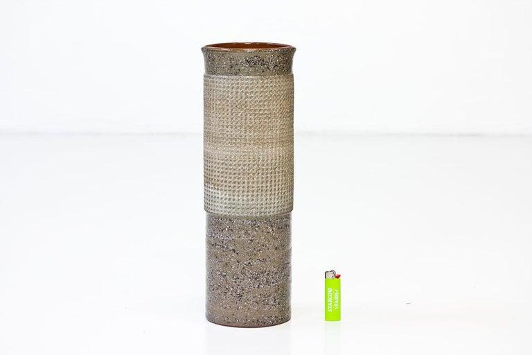 Swedish Ceramic Cylindrical Floor Vase by Thomas Hellström for Nittssjö, Sweden, 1960s For Sale