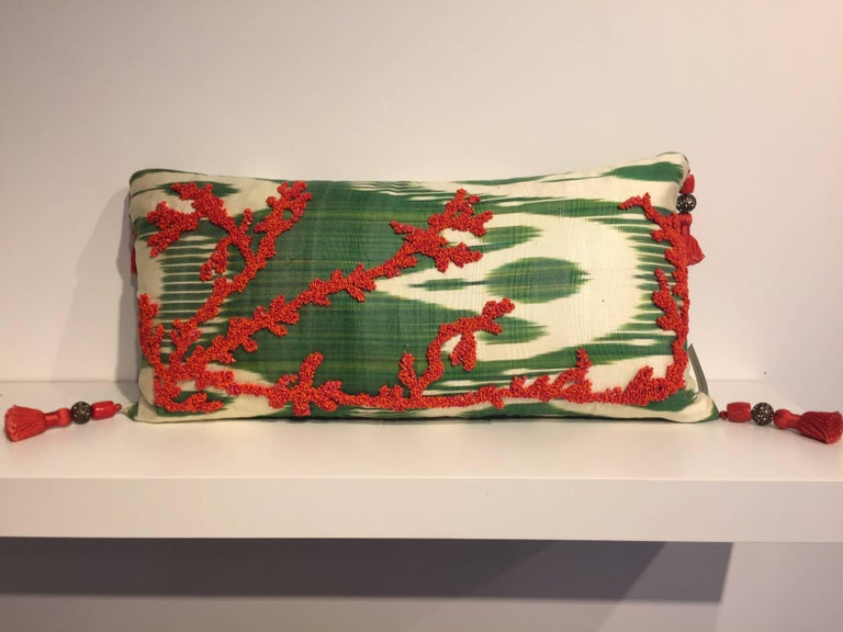 One pair silk cushions, coral design hand embroidery with coral beads and coral chips on fabric vintage silk Ikat color ivory and jade green, corner tassels - 9cm length made out of silk thread and big coral pearls, four no per cushion - cushion