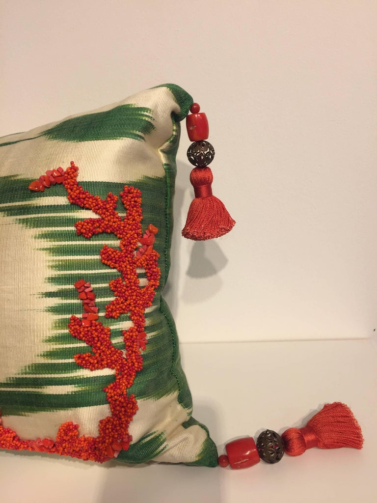 English Decorative Silk Cushions Coral in Hand Embroidery on Vintage Ikat For Sale