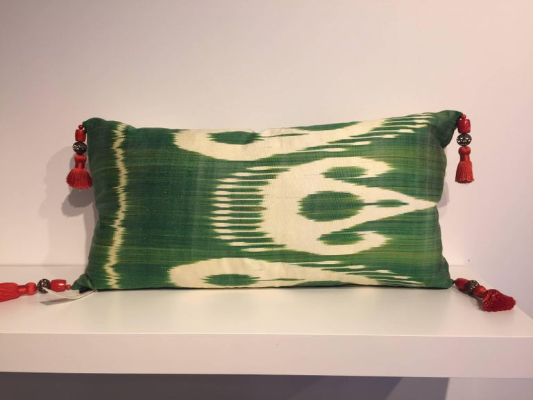 Beaded Decorative Silk Cushions Coral in Hand Embroidery on Vintage Ikat For Sale