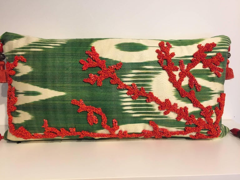 Decorative Silk Cushions Coral in Hand Embroidery on Vintage Ikat In New Condition For Sale In Hamburg, DE