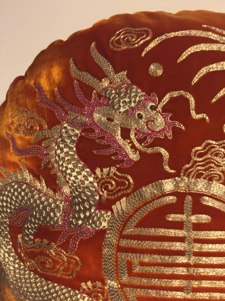 English Pair of Dragon Cushions Chinoiserie Style Velvet Color Brick Round Shaped For Sale