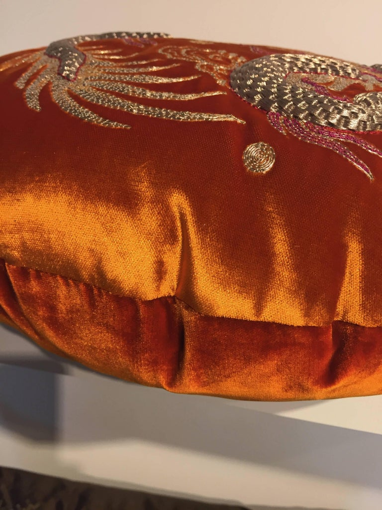 Embroidered Pair of Dragon Cushions Chinoiserie Style Velvet Color Brick Round Shaped For Sale