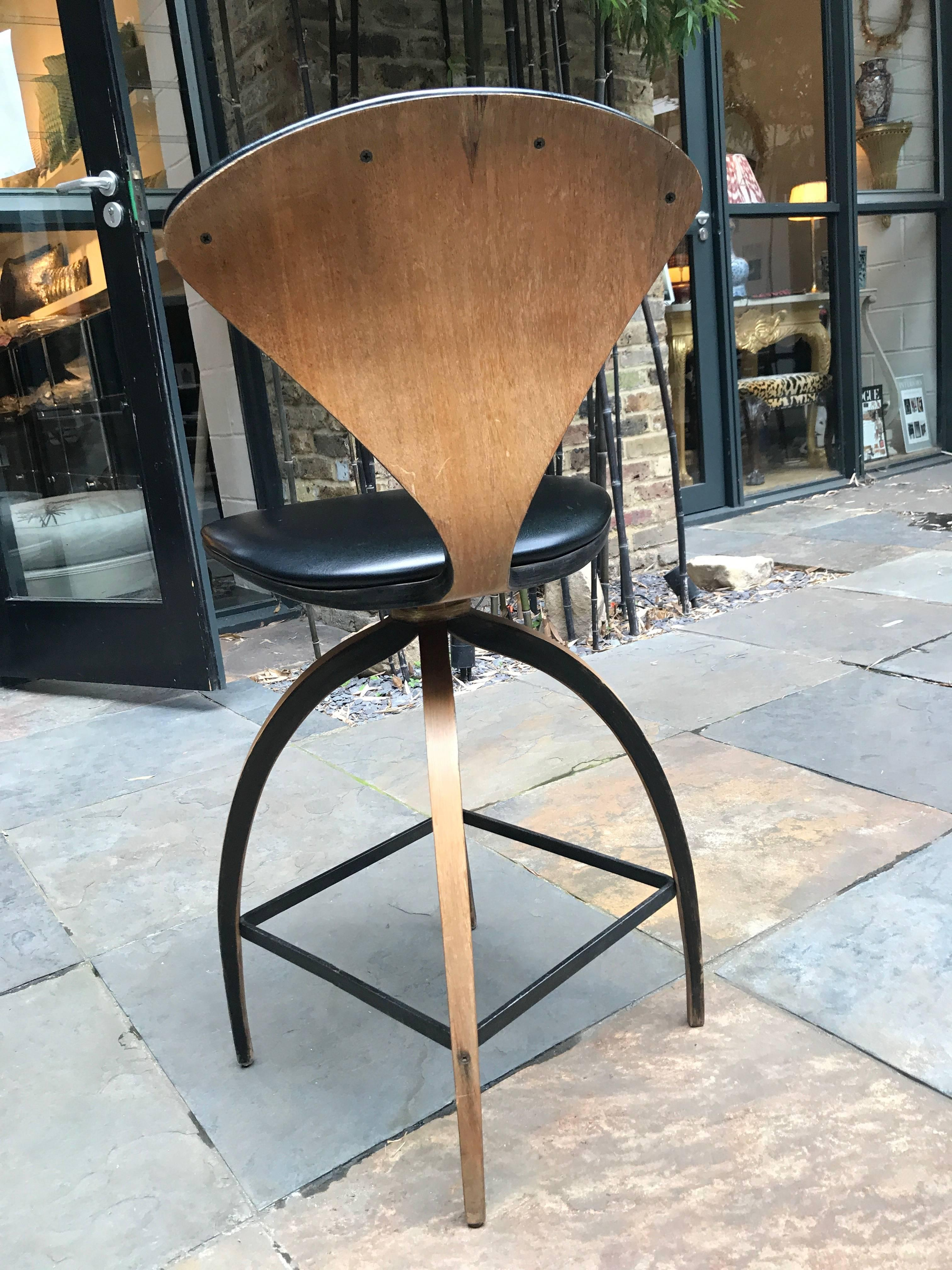 plycraft of early bentwood swivel bar stool designed for norman cherner 2