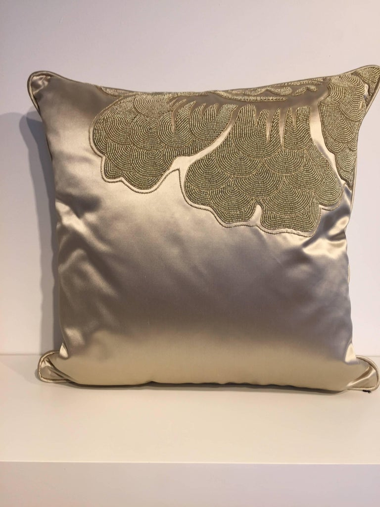 Set of three no cushions, silk satin Osborn and little Kederi silk F5750/07 col. champagne, hand embroidery with cord work and beading, cushion size 40 x 40 cm, Self-piped, back side plain silk, cushion cover with cotton lining, concealed zipper in