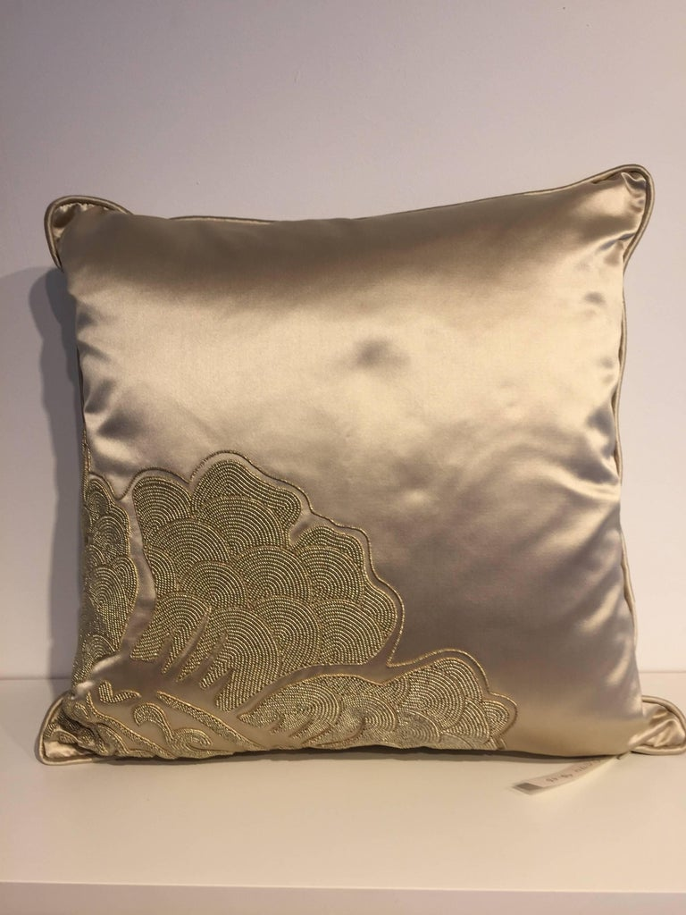 Embroidered Set of Cushions Silk Satin Champagne Modern Damask Design Hand Embroidery For Sale