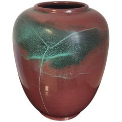 Richard Uhlemeyer Table Vase German Pottery Terracotta Red and Green 1940s Style
