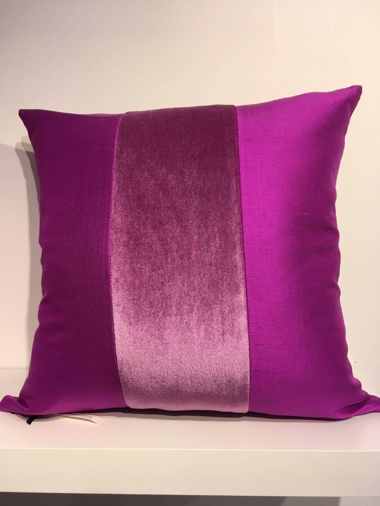 One pair cushions, Jacquard fabric silk colour Cyclamen with centre stripe in Mohair colour Cyclamen on Front and Back, size 50 x 50cm, concealed zipper in the bottom seam, inner pad with feather
